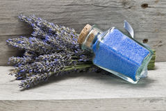 Bunch of lavender and bath salts. Stock Photo