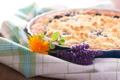 Bunch of lavender blooms in front of berry pie stock photo