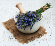 Bunch of lavender flowers and mortar Royalty Free Stock Photo