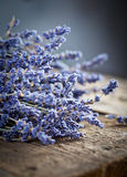 Bunch of lavender flowers on old wood table Stock Images
