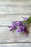 Bunch of  lavender flowers on old wooden table Stock Image