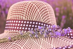 Bunch of lavender flowers and straw hat. Romantic summer concept. Aromatherapy. Sunset over a summer purple lavender stock photography