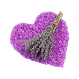 Bunch of lavender and the heart of the salt bath Royalty Free Stock Image