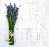 Bunch of lavender. On a old wooden background Stock Images