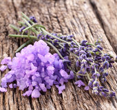 Bunch of lavender and sea salt. Royalty Free Stock Image
