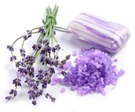 Bunch of lavender and sea salt. Royalty Free Stock Photo