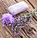 Bunch of lavender and sea salt. Royalty Free Stock Images