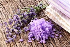 Bunch of lavender and sea salt. Stock Images