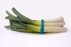 Bunch of leeks tied together Royalty Free Stock Photos