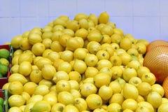 Bunch of lemons. Big bunch of yellow lemons in shop Royalty Free Stock Photo