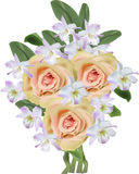 Bunch of light lilac orchid and orange rose flowers Stock Photo