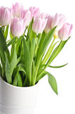 Bunch of Light Pink Tulips in a White Vase Stock Photography