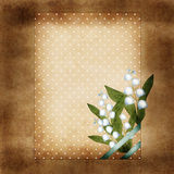 Bunch of lilies of the valley on brown grunge background, invita Stock Photos