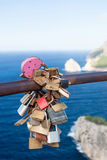 Bunch of locked padlocks on a rail stock images