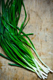 Bunch of long stem green fresh scallions on weathered wood background, top view, minimalist Stock Images