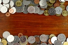 Bunch of loose change or coins Stock Images
