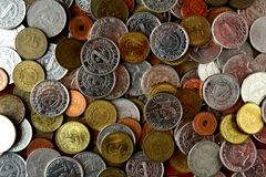 Bunch of loose change or coins Stock Image