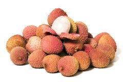 Bunch of Lychee fruits Stock Photo