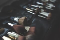A bunch of make-up brushes Royalty Free Stock Photos