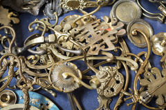 Bunch of many old brass door mountings Stock Photos
