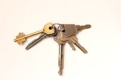 A bunch of metal house keys Stock Photo