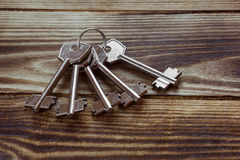 Bunch of metal keys in the ring Royalty Free Stock Photography