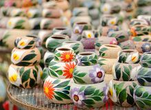 Bunch of Mexican ceramic pots. On a market table Royalty Free Stock Photos