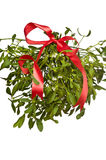 Bunch of mistletoe with a red ribbon Stock Photo