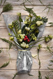 Bunch of mistletoe on a wooden surface Royalty Free Stock Photography