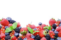 Bunch of mixed berries in harvest pile on white background. Colorful composition with fresh organic strawberry, blueberry, blackbe. Rry & redcurrant. Clean Stock Images