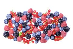Bunch of mixed berries in harvest pile on white background. Colorful composition with fresh organic strawberry, blueberry, blackbe. Rry & redcurrant. Clean Stock Photo