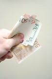Bunch of money. Bunch of dollar and euro bills Stock Photo