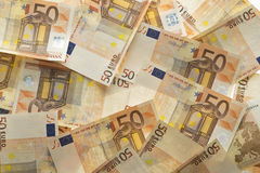 Bunch of money. Fifty euro banknotes. Bunch of money background Stock Image