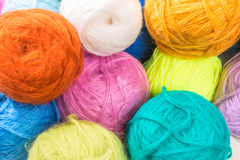 Bunch of multi-colored woolen threads Stock Photos