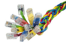 Bunch of multi coloured ethernet network cables. Closeup on bunch of  brightly multi coloured ethernet network cables isolated on white background Royalty Free Stock Images