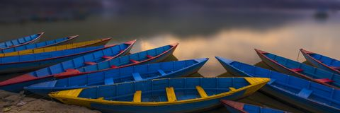 A bunch of Nepal Boats Panoramic view royalty free stock images