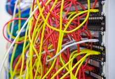 A bunch of network cables in a data center Stock Photo