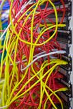 A bunch of network cables in a data center Stock Image