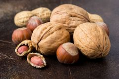 Bunch of nuts in shell and peeled on dark background. Walnuts, hazelnuts and peanuts. Tasty healthy snack, food. Bunch of nuts in shell and peeled on a dark stock image