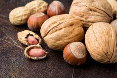 Bunch of nuts in shell and peeled on dark background. Walnuts, hazelnuts and peanuts. Tasty healthy snack, food. Bunch of nuts in shell and peeled on a dark stock images