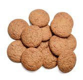 A bunch of oatmeal cookies on a white isolated background. Close-up. Top view. royalty free stock photography