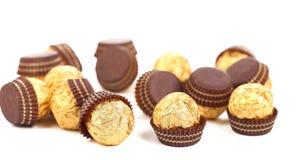 Bunch Of Chocolate Gold Bonbons. Stock Photos