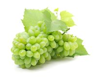 Bunch Of Green Grapes With Leaves Royalty Free Stock Image