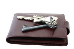 Bunch Of Keys On Brown Leather Wallet Royalty Free Stock Photos