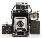 Bunch Of Old Vintage Film Cameras Royalty Free Stock Images