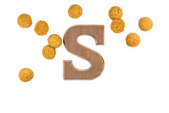 Bunch og ginger nuts with chocolate letter Royalty Free Stock Photos
