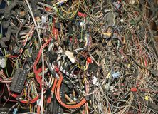 Bunch of old automobile wires and cables stock image