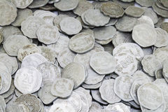 Bunch of Old Indian coins. Old indian coins of 5 paise, 10 paise and 20 paise Stock Photos