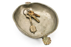 Bunch of old keys in bowl Royalty Free Stock Photo