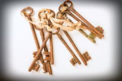 Bunch of old keys. Bunch of vintage oxidized keys with a strong patina Stock Photo